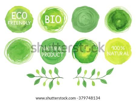 set of watercolor green logo