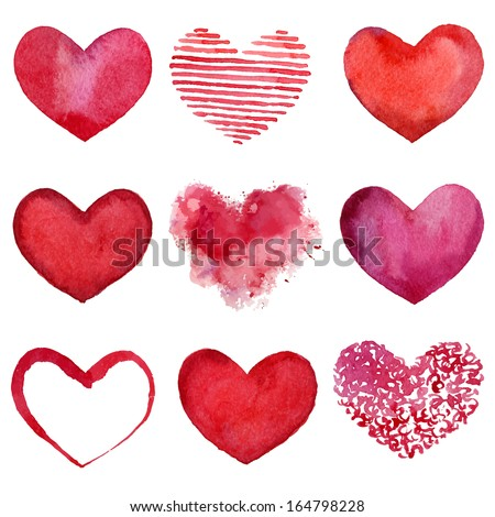 Set of watercolor hearts. Vector illustration