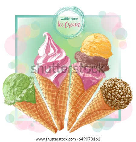Set of watercolor ice creams in waffle cones. Vector illustration. Isolated objects on a white background