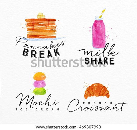 set of watercolor labels