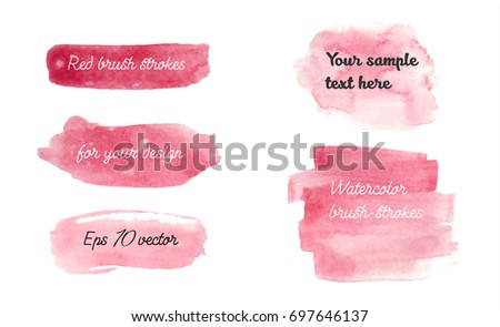 Set of watercolor red brush strokes. Golden watercolor hand drawn unique backgrounds for your design. Eps 10 vector illustration.