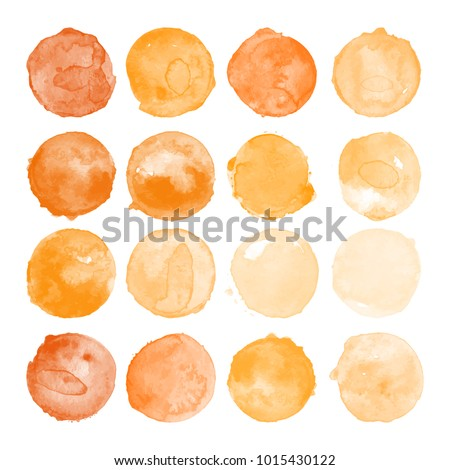 Set of watercolor shapes. Watercolors blobs. Set of colorful watercolor hand painted circle isolated on white. Illustration for artistic design. Round stains, blobs of orange color