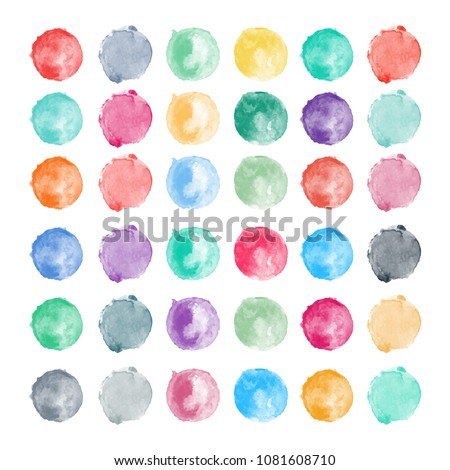 Set of watercolor shapes. Watercolors blobs. Set of colorful watercolor hand painted circles isolated on white. Illustration for artistic design. Round stains, blobs of different colors