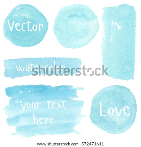 Set of watercolor stain. Spots on a white background. Watercolor texture with brush strokes. Round, rectangle, spot. Blue, turquoise. The sky. Vector. Isolated.