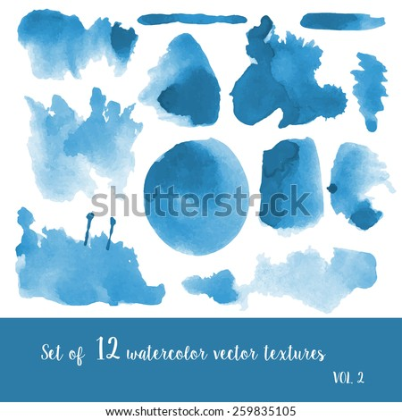 set of watercolor strokes and