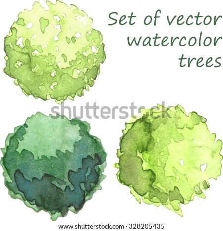 set of watercolor trees  top