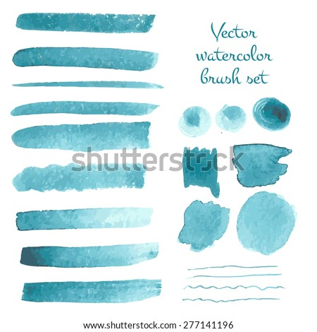 set of watercolor vector brush