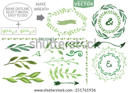 Set of watercolor wreaths and laurels. Hand painted branches,leaves,petal decor elements.For design template,invitation.Watercolor brushes. Nature,organic items.Vector.Easy to edit