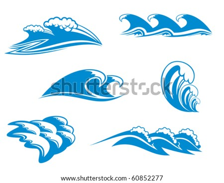 Set of wave symbols for design - also as emblem, such emblem or logo template. Jpeg version also available in gallery