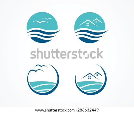 set of wave wave apartment icon