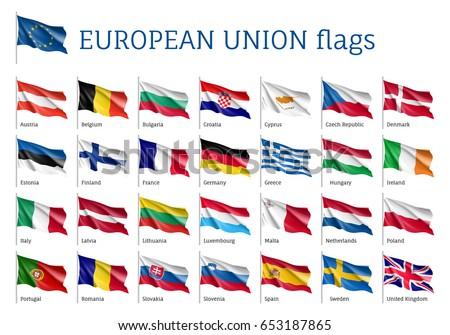 set of waving flags of eu