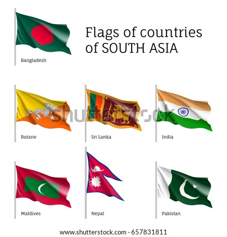 set of waving flags on flagpole