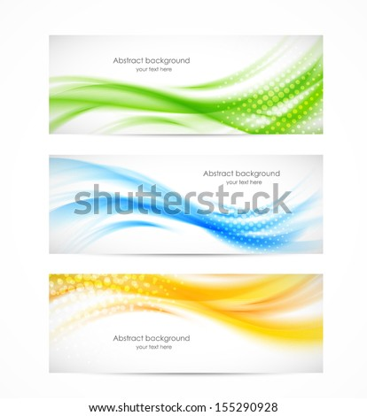 set of wavy banners bright