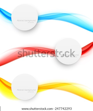 set of wavy banners in blue red