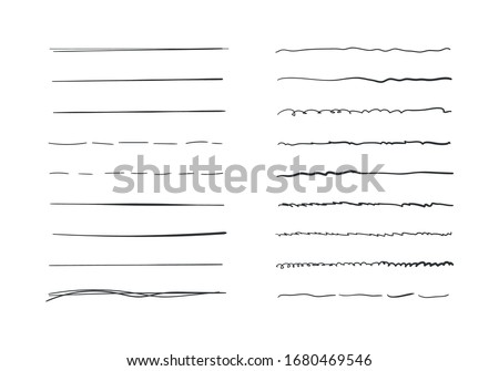 Set of wavy horizontal lines. Marker hand-drawn line border set and scribble design elements. Set of art brushes for pen. Hand drawn grunge brush strokes. Vector illustration, EPS 10.