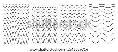 Set of wavy horizontal lines on a white background. Vector design element. Foto d'archivio ©