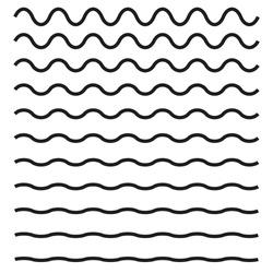 Set of wavy horizontal lines. Vector design element