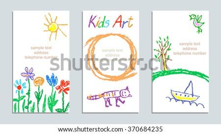 set of wax crayon kid s drawn