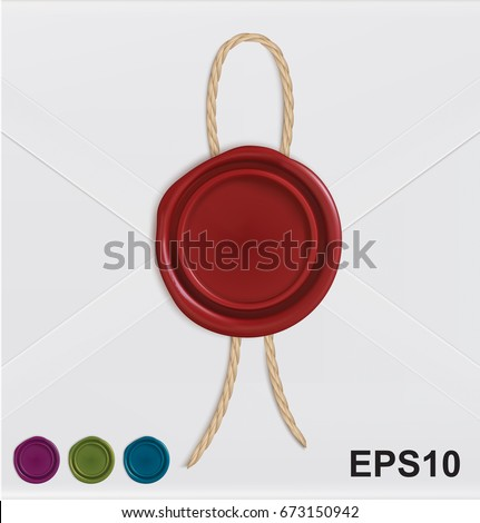 Set of wax seals with rope. Vector illustration