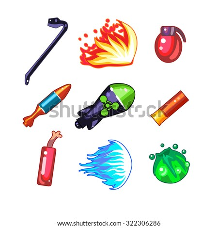 set of weapon and fire icons