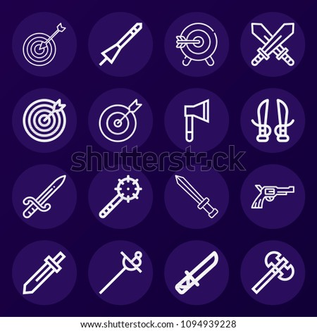 set of 16 weapons outline icons
