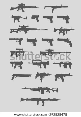 set of weapons silhouette