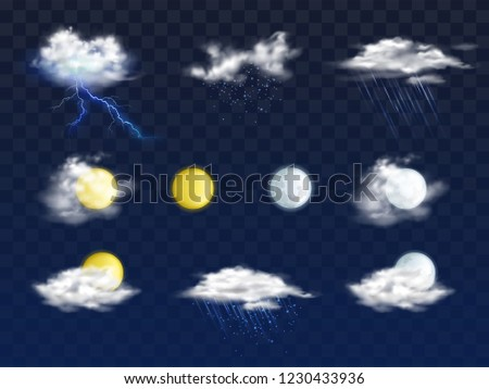 Set of weather forecast app realistic vector icons with various clouds, sun and moon disks illustration isolated on transparent background. Meteorologic calendar day, night 3d pictograms collection