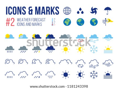 Set of Weather Forecast icons and masks in Modern Symbols Vector illustration
