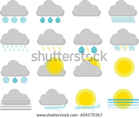 Set of weather forecast vector icons in flat design