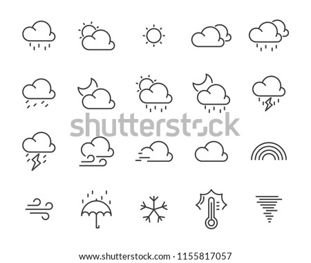 set of weather icon,such as cloud, sun, weather