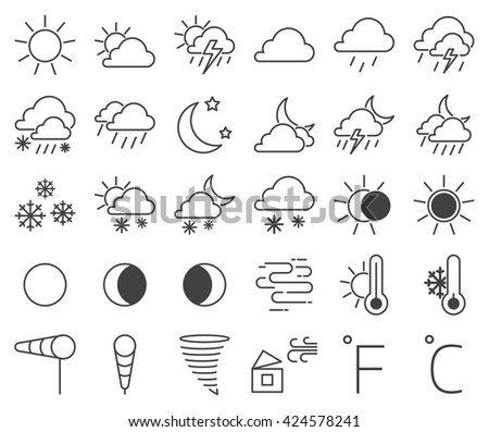 set of weather icons and