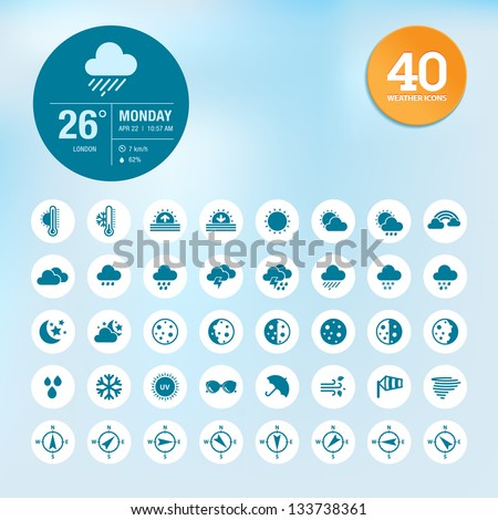 Set of weather icons and widget template - stock vector