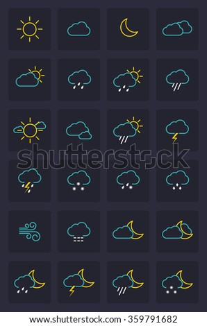 Set of Weather Icons. Flat Design Style.