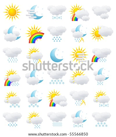Set of weather icons isolated on white
