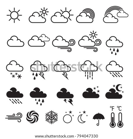 Set of weather icons. Modern weather icons, symbols on white background. Vector illustration