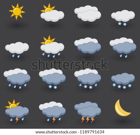 set of weather icons on grey