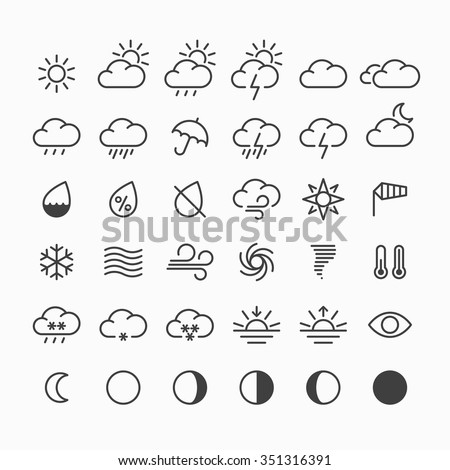 Set of weather icons. Vector.