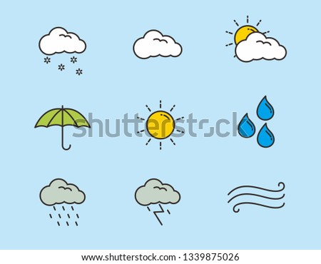 Set of weather icons, weather vector illustration