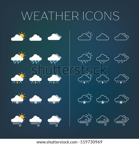 Set of weather icons with dark background.