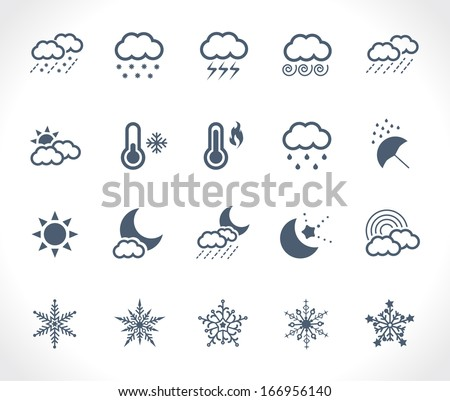 Set of 20 weather related icons