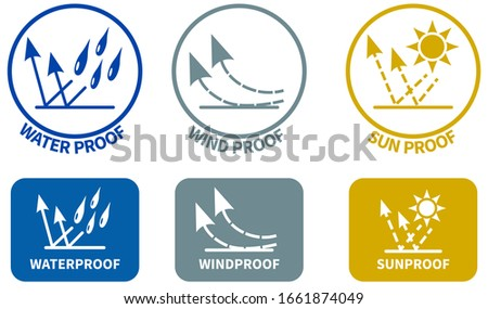 set of weather resistance icons