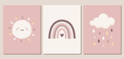 Set of weather themed vector illustrations in blush pink colors. Cute sun, cloud, raindrops, and rainbow. For nursery decor, posters, banners, greeting cards, and more.