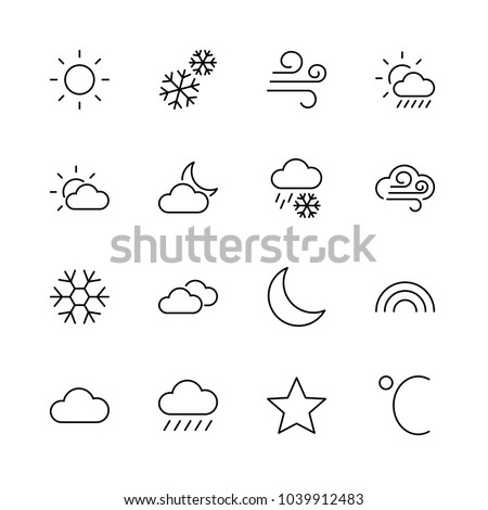 Set of weather vector line icons. Contains symbols of the sun, clouds, snowflakes, wind, rainbow, moon and much more. Editable move. 32x32 pixels.