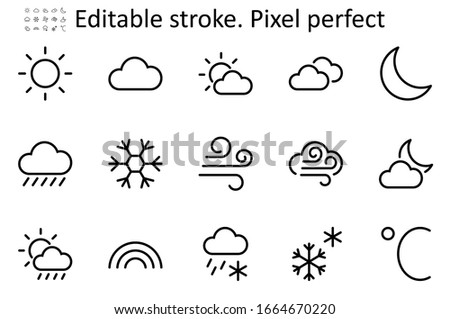 Set of Weather vector line icons. Contains symbols of the Sun, Clouds, Snowflakes, Wind, Rainbow, Moon and much more. Editable Stroke. 48x48 Pixel Perfect