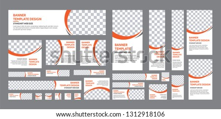 Set of web banner of standard size with a place for photos. Vertical, horizontal and square template with white, grey, black and orange color #1312918106