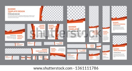 set of web banner of standard size with a place for photos. Vertical, horizontal and square template with white, grey, black and orange color #1361111786
