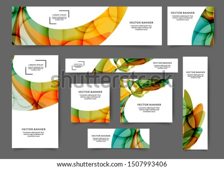 Set of web banner templates with abstract lines and waves. Different sizes