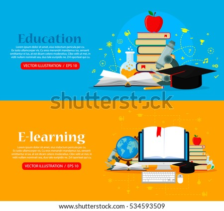 Set of web banners. Education concepts. Vector illustration. Flat modern design. EPS 10.