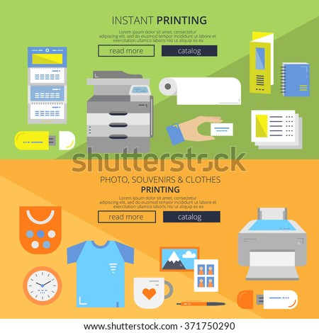 set of web banners for print shop copy center and publishing house in flat style instant. Black Bedroom Furniture Sets. Home Design Ideas