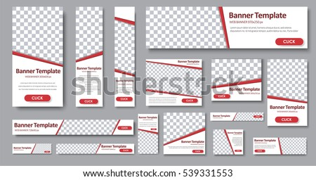Set of web banners in standard sizes. Templates with place for photo and diagonal stripes and button. Vector illustration #539331553